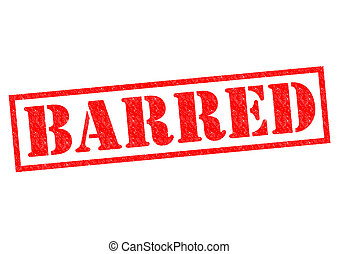 BARRED red Rubber Stamp over a white background