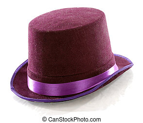 purple top hat isolated on white background