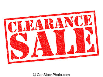 CLEARANCE SALE red Rubber Stamp over a white background