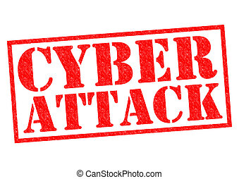 CYBER ATTACK red Rubber Stamp over a white background.