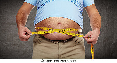 Obesity. - Fat belly. Man with overweight abdomen. Weight...
