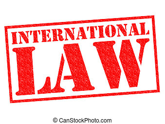 INTERNATIONAL LAW red Rubber Stamp over a white background