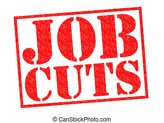 JOB CUTS red Rubber Stamp over a white background.