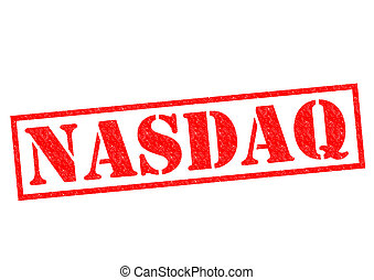 NASDAQ red Rubber Stamp over a white background