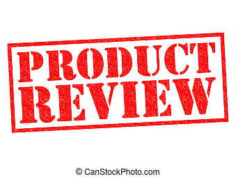 PRODUCT REVIEW red Rubber Stamp over a white background.