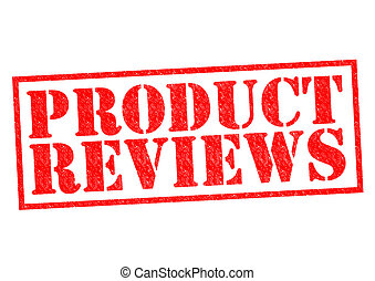 PRODUCT REVIEWS red Rubber Stamp over a white background