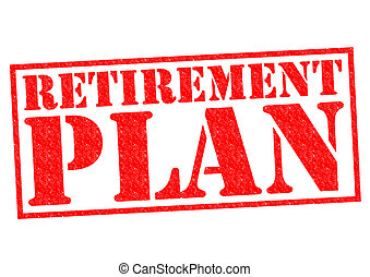 RETIREMENT PLAN red Rubber Stamp over a white background.
