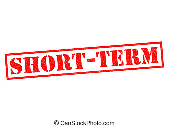 SHORT-TERM red Rubber Stamp over a white background