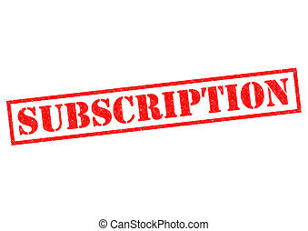 SUBSCRIPTION red Rubber Stamp over a white background