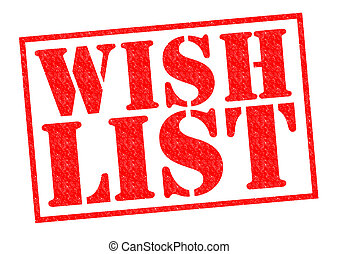 WISH LIST red Rubber Stamp over a white background.
