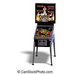 pin-ball machine - 3D rendering of a pinball with clipping...