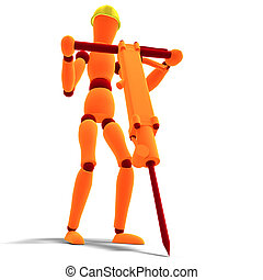 orange red manikin as a worker with jackhammer - 3D...