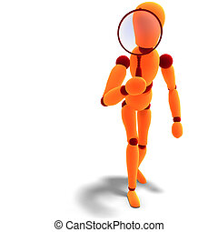 3D rendering of a orange red manikin looking through a...