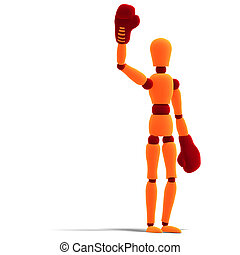orange / red manikin is the winner - 3D rendering of a...