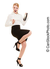 Happy businesswoman with success hand gesture - Happy...