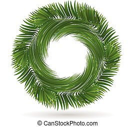 Palm tree leafs circle shape logo - Palm tree leafs in...