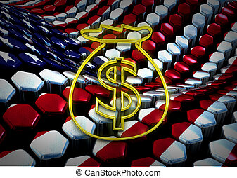 american dolar illustration with usa flag background theme