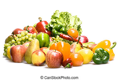 Healthy Eating, isolated on white background.