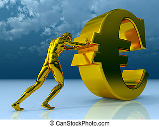 euro - man figure pushes euro sign under cloudy blue sky -...
