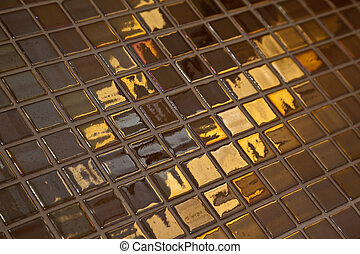 Golden tiling - Some glossy, golden colored bathroom tiling....
