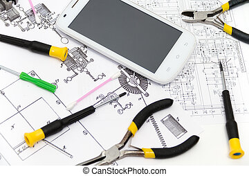 Technical operator and repair smartphone - Photo of the...
