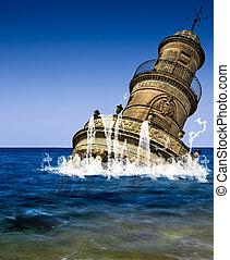 Rise of Atlantis - Surreal image showing ancient ruins rise...