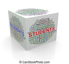 3d cube word tags wordcloud of student