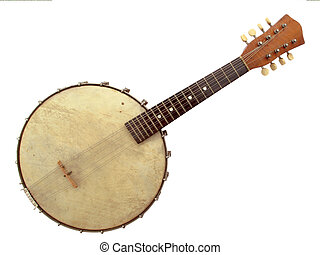 Banjo - Beautiful vintage six string banjo on white