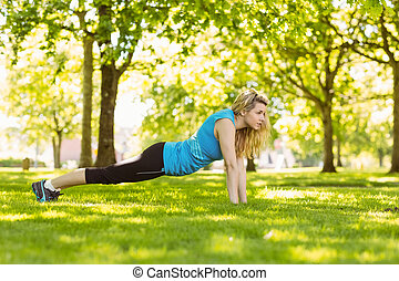 Fit blonde doing push ups in the park