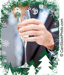 Businessman holding a glass of champagne - Close up of a...