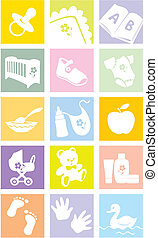 Icon set - baby goods, items. Illustration - Icon set - baby...