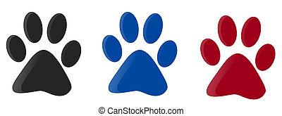 Three colorfull paw prints isolated with white background