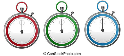 Three Colorful Stopwatch - Three isolated colorfull stop...