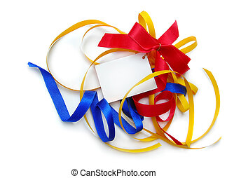 Colorful party ribbons, card, isolated - Colorful vivid...