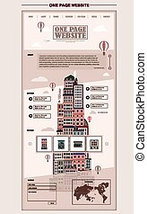 retro city scene one page website design template in flat...