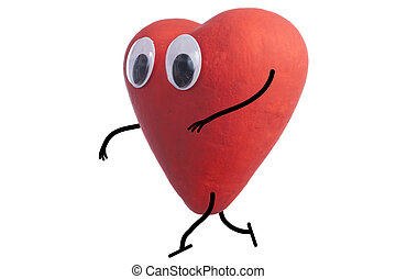 Heart character quietly - Heart character walking stealthily...