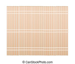 A Brown Bamboo Mat on White Background - Traditional Japan,...