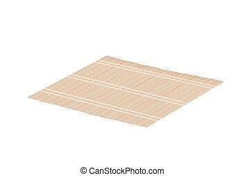 Brown Bamboo Mat on A White Background - Traditional Japan,...
