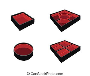 Set of Empty Bento Box on White Background - Traditional...