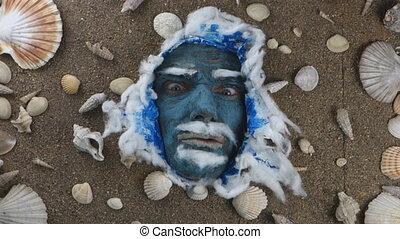 blue sea man anger - angry blue sea man expression ,sea King...