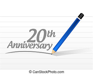 20th anniversary message sign illustration design over a...