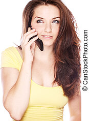 Beautiful young woman on her phone - A beautiful young woman...
