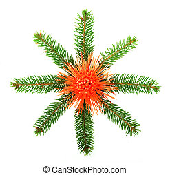 Snowflake made from Christmas tree branches isolated on...