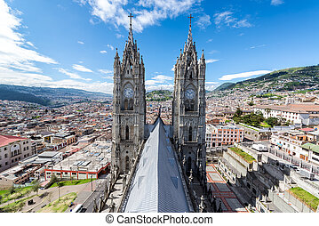 Quito Basilica Towers - View of the towers of the Basilica...