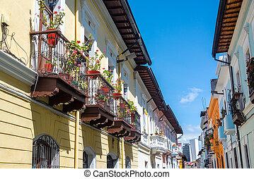 Colonial Balconies in Quito, Ecuador