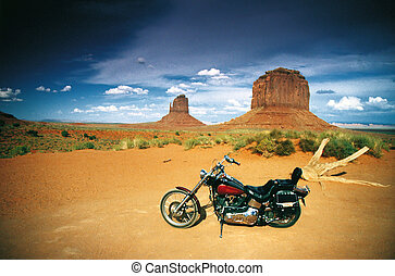 chopper - wild thing with a chopper in the monument valley