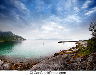 Coast Norway - A dramatic sky on the norwegian coast in...