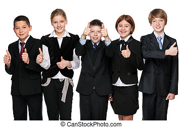 Five happy students hold his thumbs up