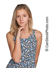 Thoughtful preteen girl - A thoughtful preteen girl on the...