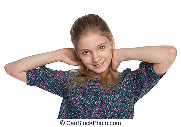 Blonde preteen girl - A blonde preteen girl on the white...